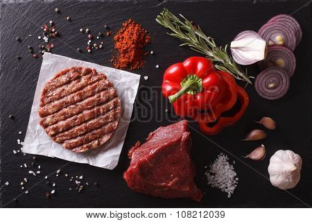 Raw Beef Burger Cutlets With Ingredients. Horizontal Top View Closeup