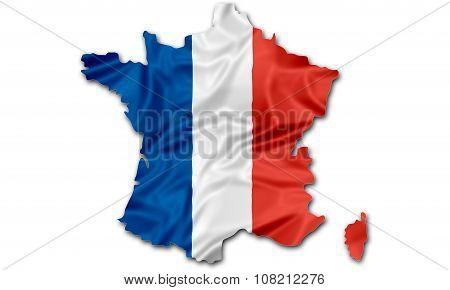 Map of France flag