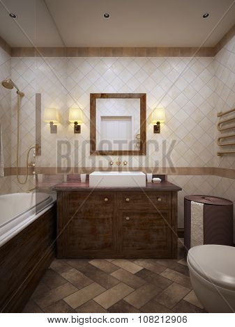 Classical Bathroom With Wood Furniture And Walls In Beige Tile.