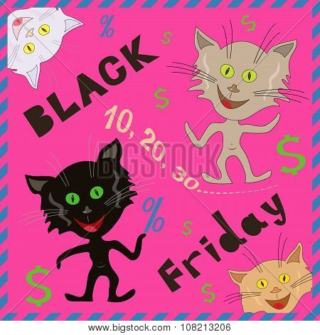 Funny Cats Announcing A Black Friday