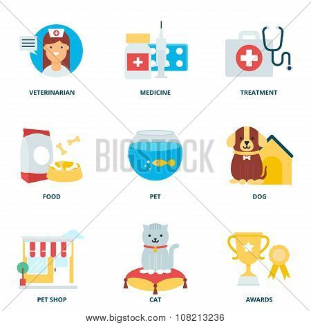 Veterinary Medicine And Pets Vector Icons Set, Flat Style