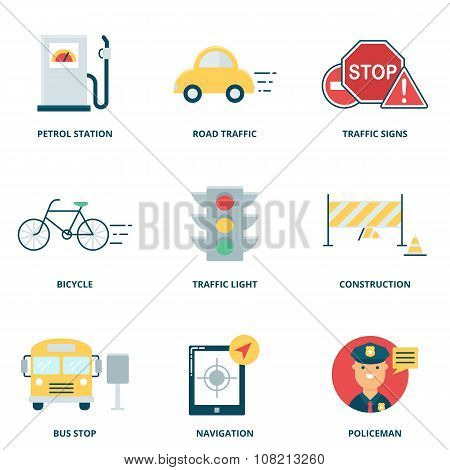 Road Traffic Vector Icons Set, Flat Style