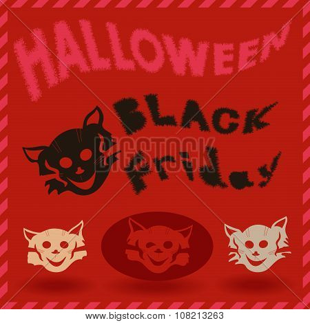 Halloween And Black Friday Pattern With Cat Stencils