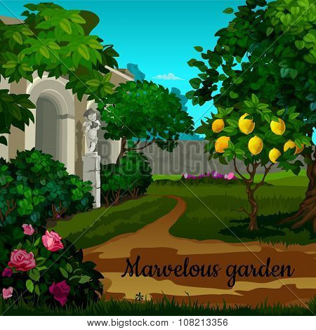 Magic garden with citrus tree and statuett