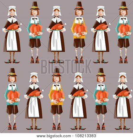 Pilgrim Couple. Thanksgiving. Seamless Background Pattern.