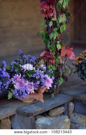 autumn bouquet of flowers and berries