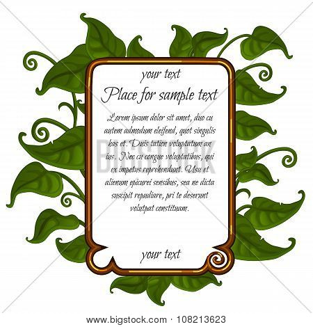 Image green leaf with frame for text