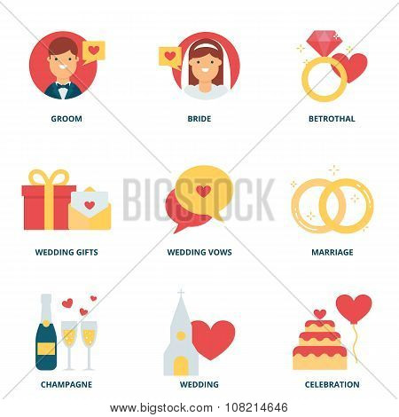 Wedding Vector Icons Set, Flat Style