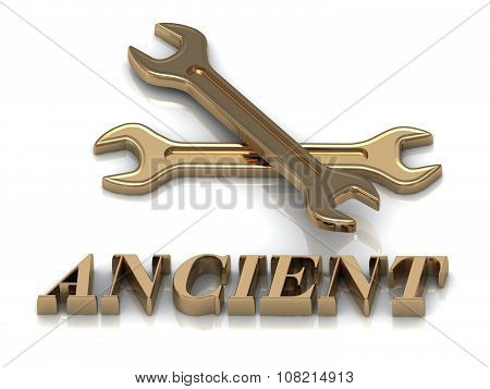 Ancient- Inscription Of Metal Letters And 2 Keys