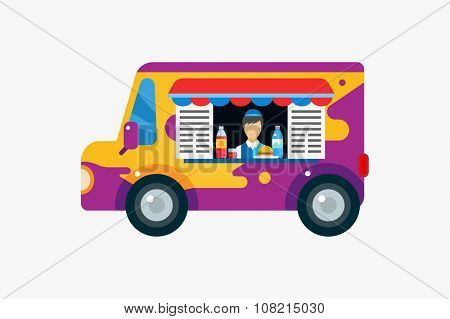 Fast food car and objects set Car, outdoor, water bottle or juice, eat and ice cream, hamburger, hot dogs or restaurant, lunch time. Design elements