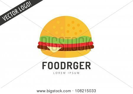 Hamburger logo icon isolated on white. Fast food restaurant object. Hamburger logo. Cheese, tomato, salad, food ingredients, takeout food