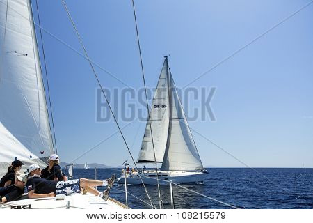 HYDRA, GREECE - CIRCA OCT, 2014: Sailors participate in sailing regatta 12th Ellada Autumn 2014 among Greek island group in the Aegean Sea, in Cyclades and Argo-Saronic Gulf.