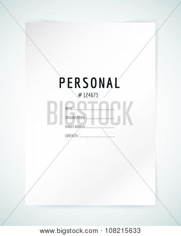 Form blank template. Business folder paper and print, office, personal information, text, top secret. Design element.s Print design. Isolated on white.