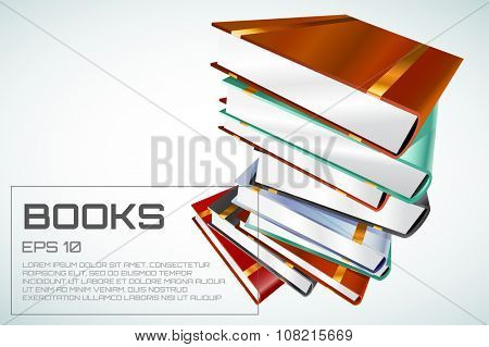 Book 3d illustration isolated on white. Back to school. Education, university, college symbol or knowledge, books stack, publish, page paper. Design element