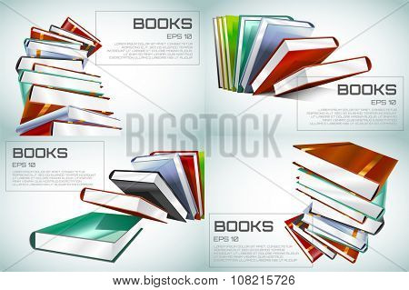 Book 3d illustration isolated on white. Back to school. Education, university, college symbol or knowledge, books stack, publish, page paper. Design element.