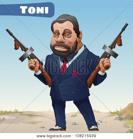 Bandit with gun in Wild West cartoon character -