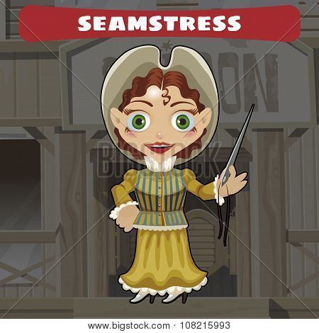 Cute seamstress, cartoon character