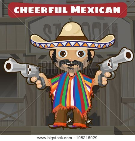 ?artoon character, mexican with gun