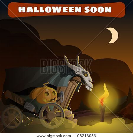 Old wagon with skull and pumpkin