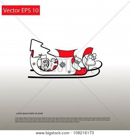 Santa Red Sledge With Presents Elegant Icon
