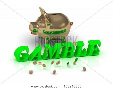 Gamble- Inscription Of Green Letters And Gold Piggy