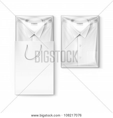 White classic men shirt in packaging box and shopping bag