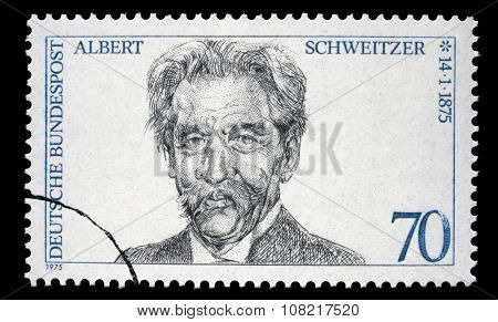 GDR - CIRCA 1975: A stamp printed in GDR (East Germany) shows Albert Schweitzer, circa 1975
