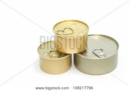 Tin Can With Open Key On White Background