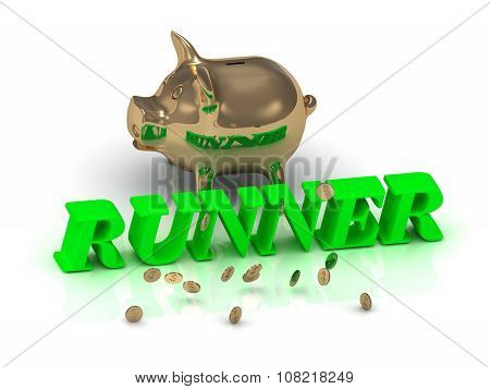Runner- Inscription Of Green Letters And Gold Piggy
