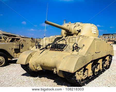 Sherman Tank M4A3 With 105Mm Fire Support. Latrun, Israel