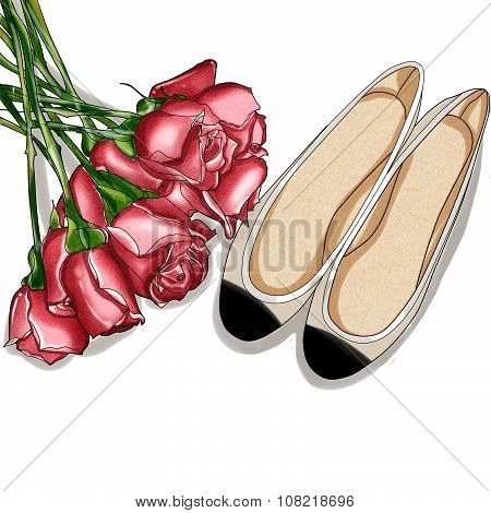 Hand Drawn Fashion Illustration - Rose Bouquet and a pair of ballerina shoes