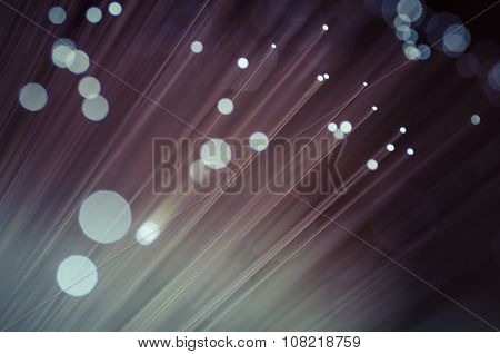Fiber optic cables, fibre connection, telecomunications concept.