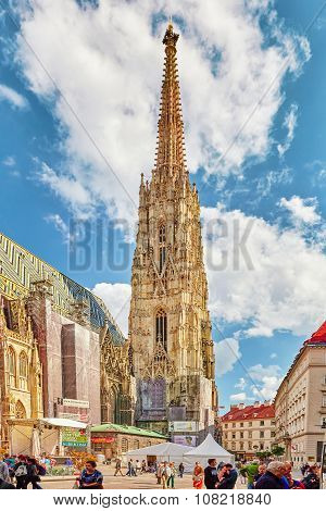 Vienna, austria-september 10, 2015: St. Stephen's Cathedral(stephansdom) The Mother Church Of The Ro