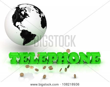 Telephone- Bright Color Letters, Black And White Earth