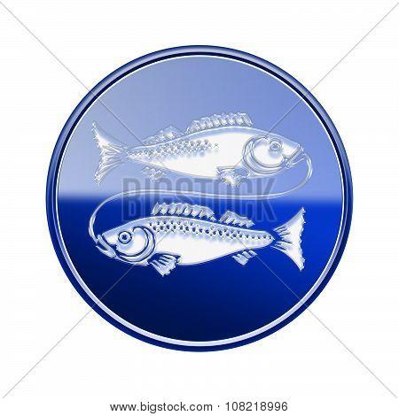 Pisces Zodiac Icon Blue, Isolated On White Background