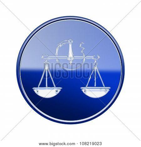 Libra Zodiac Icon Blue, Isolated On White Background