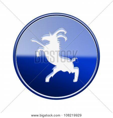 Goat Zodiac Icon Blue, Isolated On White Background.