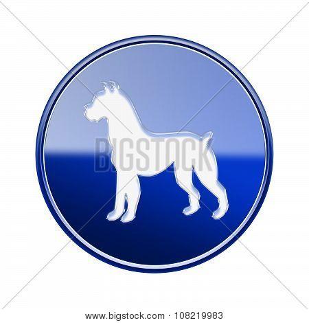 Dog Zodiac Icon Blue, Isolated On White Background.