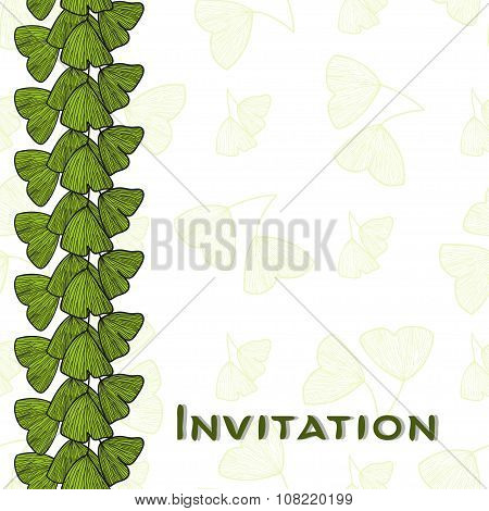Invitation card with leaves of Ginkgo biloba