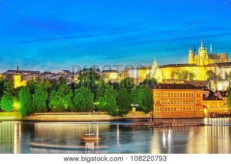 View Of Prague Castle From The River Vltava.czech Republic.