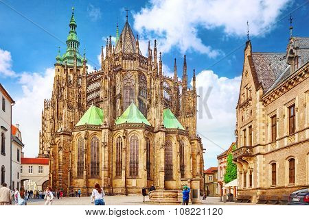 Prague, Czech Republic-september 05, 2015:metropolitan Cathedral Of Saints Vitus, Wenceslaus And Ada