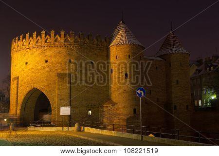 Ancient Barbican In Warsaw At Night, Poland