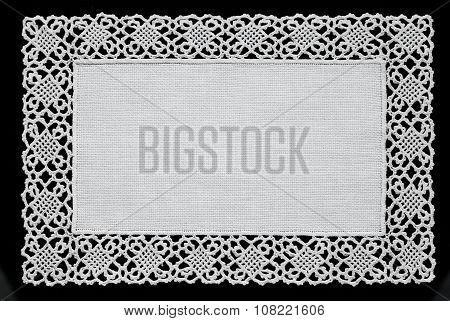 White Handmade Lace Doily  Isolated On Black Background