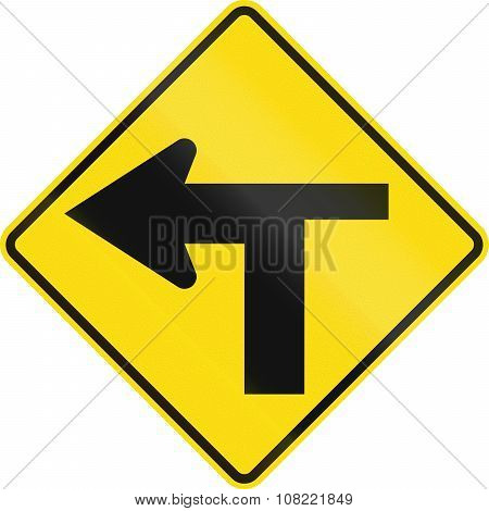 New Zealand Road Sign - T Junction Controlled (priority Turns Left)