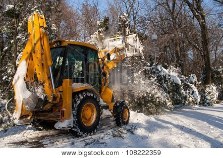 Snow Removal Vehicle Cleaning After Snowstorm