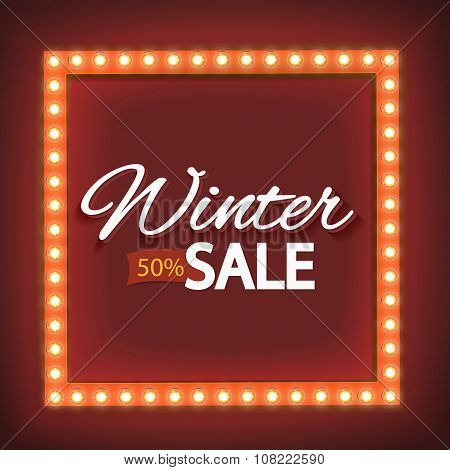 Winter sale with red lights