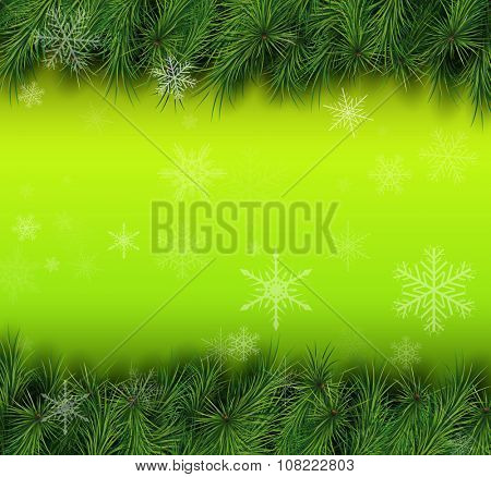 Christmas green background with fir branches. Vector Illustration.