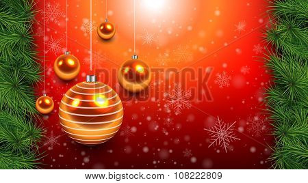 Christmas background red with gold balls and fir branches. Vector Illustration.