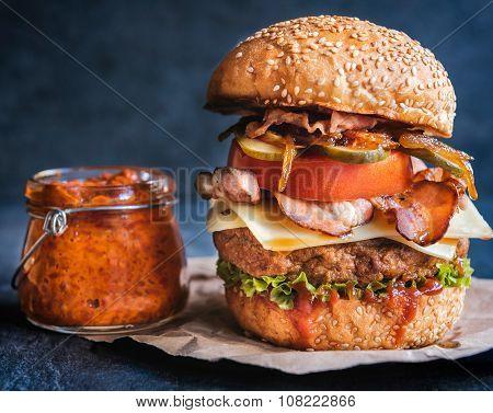 Beef Burger And Ajvar