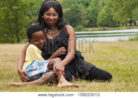 African Mother And Dreaming Son